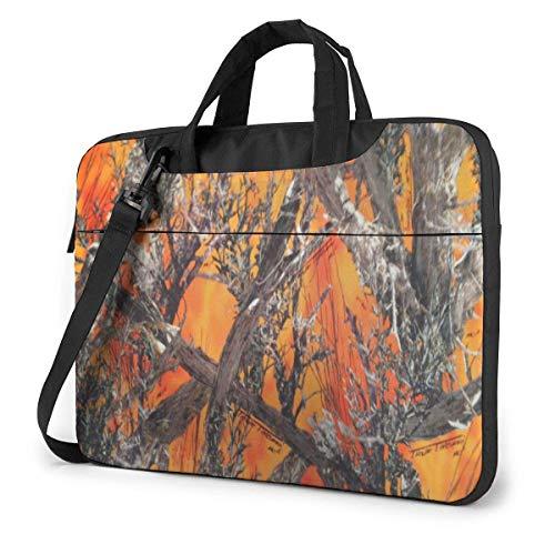 Laptop Sleeve Case,Realtree Camo Orange Briefcase Messenger Notebook Bag 15.6 Inch