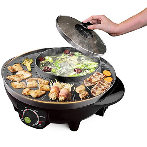 LIVEN Electric Shabu Shabu Hot Pot with BBQ Multifunctional Electric Skillet 120V