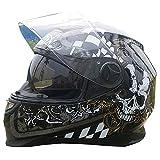 WWtoukui Casco Moto Teschio Cool, Quattro Stagioni Universale Doppia Lente Protezione UV off-Road Motociclista Casco Integrale, DOT Certificato Protettivo cap,M:53~55cm
