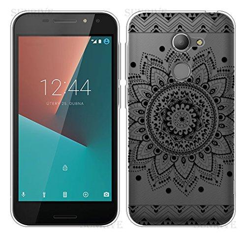 Sunrive Für Vodafone Smart N8 Hülle Silikon, Transparent Handyhülle Schutzhülle Etui Case Backcover für Vodafone Smart N8(TPU Blume Schwarze)+Gratis Universal Eingabestift
