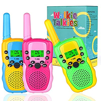 Kids Walkie Talkies, Toy for 3 4 5-12 Year Old Boy 22 Channels 3KM Range with LCD Flashlight for 5 6 7 8-12 Year Old Boy Teens Brithday Present Suitable for Outdoor Camping 3 Pack