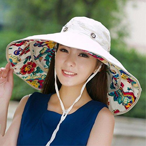 SAIBANGZI Cadeaux de Vacances Bonnet été Parasol de Plage Anti UV Chapeau Peut être plié. White