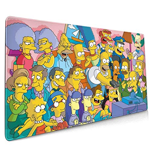 The S-Impsons Extended Large Gaming Mouse Pad - XXL Mouse Mat (15.8x35.5 in), Desk Pad Keyboard Mat, Non-Slip Base, Water-Resistant, for Work & Gaming, Office & Home