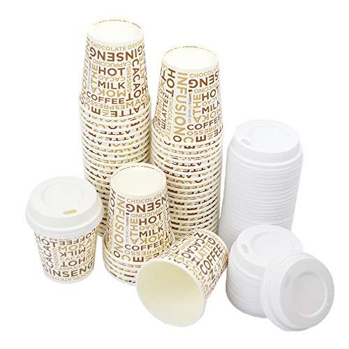 Lot de 100 gobelets en papier 10 cl (4 Oz) décorés avec inscriptions marron pour café + 100 couvercles blancs avec bec verseur