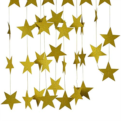RETY Christmas Decorations, 4M 7cm Paper Garland Star String Banner, Suitable for Christmas Party Decoration Gold