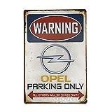 66retro Opel Parking Only, Vintage Retro Metall blechschild, Wand Deko Schild, 20cm x 30cm