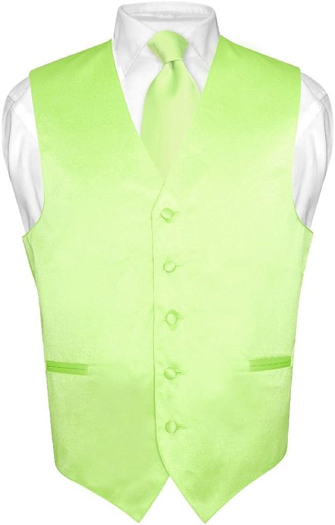 Men's Dress Vest NeckTie Solid LIME Rare Neck GREEN Set Color Dallas Mall Tie f