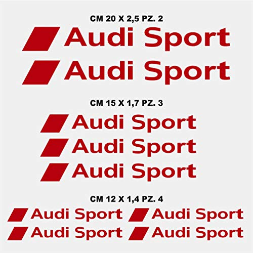 Kit Adesivi Stickers Compatibile AUD Sport A1 A2 A3 A4 A5 A6 Q3 Q5 Q7 S1 S3 Kit n. 2 cod. 1374 (031 Rosso)