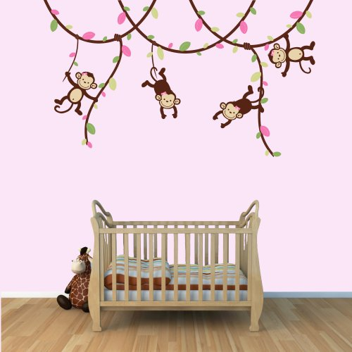 pink monkey wall decals - 3