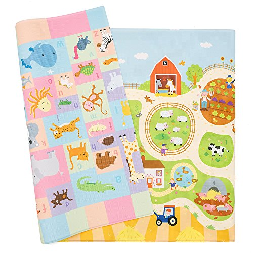 Baby Care Play Mat - Playful Collection (Busy Farm, Medium) - Play Mat for...