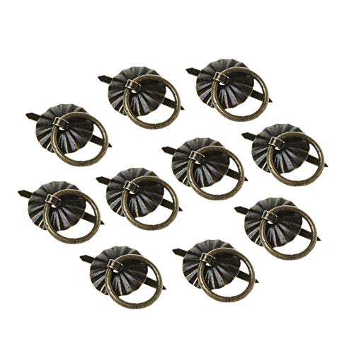 Piore 10Pcs Groen Bronskleur Ring Pin Handvat Ladekast Bureau Trekknop Meubels, 12mm