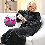 SunDeluxe Kuscheldecke mit Ärmeln XXL 150 x 240 cm 2er-Set TV-Decke Cashmere Touch - flauschig weiche und warme Wohndecke - Microfaser Ärmeldecke ideal für die kalte Jahreszeit, Farbe:Anthrazit