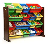 Humble Crew Supersized Wood Toy Storage Organizer, Toddler, Espresso/Primary