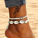 Edary Boho - Tobillera de doble concha con colgante de tortuga blanca, pulseras de tobillo, cadena para pie de playa, accesorios de joyería para mujeres y niñas