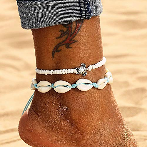 Simsly Beach Anklet Silver Turtle Double Ankle Bracelet Shell Beaded Foot Jewelry Adjustable for Women and Girls