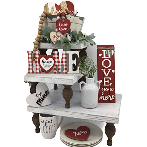 Farmhouse Tiered Tray to Display Tiered Tray Decor Or Coffee Bar Decor. This Display Riser Can Be A 3 Tiered Tray Or Separated Into A Single and Two Tier Tray. Your Wooden Tiered Stand Will Impress