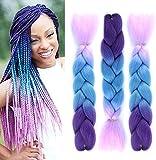FanYu 3 extensiones de pelo trenzado de color degradado Kanekalon sintético para extensiones de cabello trenzado trenzado de pelo (morado oscuro, azul y morado claro)
