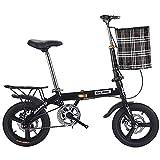 Folding Bicicleta Plegable, Bicicleta Plegable Bikes para Mujer Hombre Adultos, Acero de Alto Carbono, Bicicleta Retro de Ciudad para Trabajo Ligero con Canasta para Automóvil