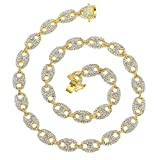FW Jewelry Bling Hip Hop Rapper Silver Gold Diamond Coffee-Bean Mariner Iced Out Cuban Link Chain...