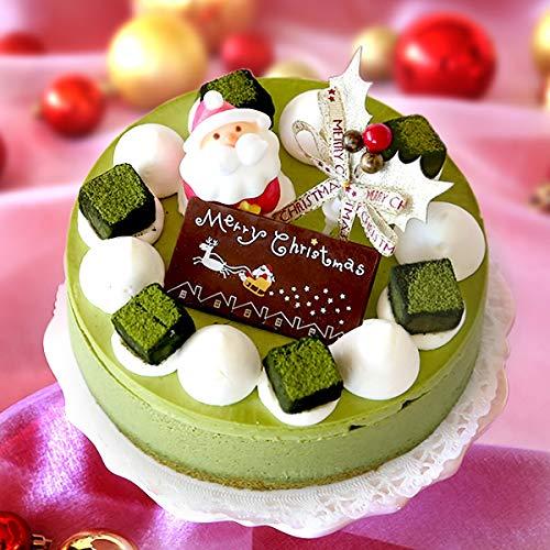 クリスマスケーキ 2020 Xmas クリスマスケーキ5号 抹茶 冷凍 ムース 【プレート サンタ ヒイラギ付】お取り寄せ 人気 ケーキ スイーツ 抹茶ムースケーキ