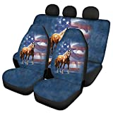 WELLFLYHOM 4 PCS Car Seat Covers Women Men Full Set Wild American Flag Horse Eagle Cool Design Universal Fit Waterproof Car Seat Cover for Cars SUV Trucks Rear Seat Cover Split Bench