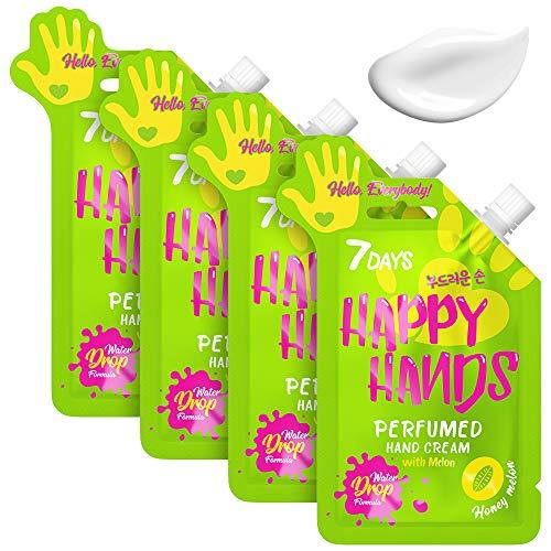 7DAYS Crème Mains 4 pièces Pêche Formule Water Drop Hydratation Profonde Regeneration Nourriture Protection Absorption Rapide Texture Légére 4x25ml