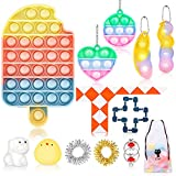 Fidget Toy Set, Cheap Sensory Toys Pack for Kids Adults, Fidget Box with Simple Dimple and Pop on it Toy, Squishy Stress Ball, and Anxiety Relief Squeeze Toys (Ice Cream Fidget Toys SetB)