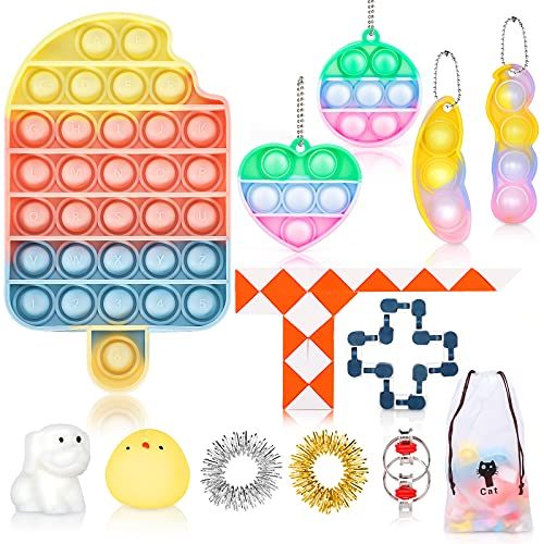 Fidget Toy Set, Cheap Sensory Toys Pack for Kids Adults, Fidget Box with Simple Dimple and Pop on it Toy, Squishy Stress Ball, and Anxiety Relief Squeeze Toys
