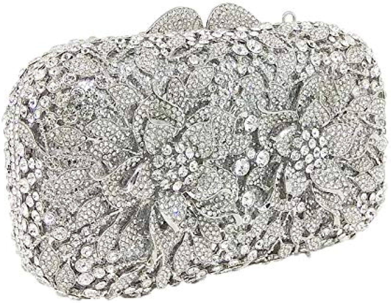ASHIJIN Boutique Dazzling Silver Flower Crystal Women Clutch Bags Hollow Wedding Party Handbag Shoulder Bag