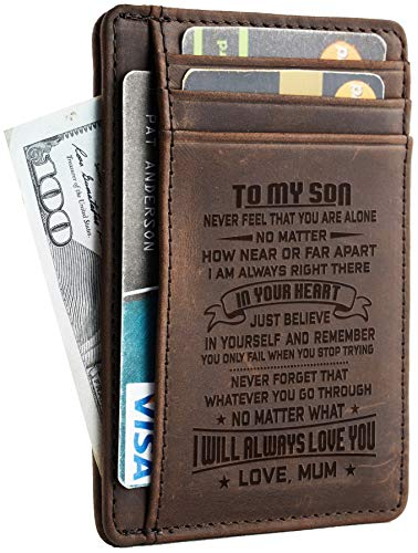 Image of the Toughergun Mother to Son Gift Best Christmas Birthday Gifts Slim Wallet (Mother to Son CH coffee)