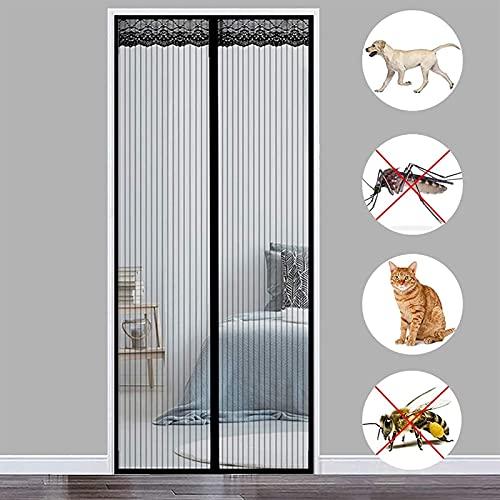 THAIKER Mosquitera Puerta Corredera Magnetica, 210x260cm(83x102inch) Mosquiteras a Medida Magnética Automático Anti Insectos Moscas y Mosquitos para Balcones, Negro