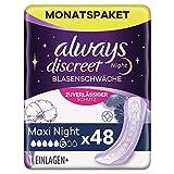 Always Discreet Inkontinenzeinlagen Maxi Night (48 Binden) Monatspaket, diskreter Schutz & hohe...