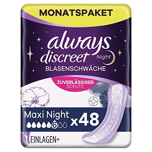 Always Discreet Inkontinenzeinlagen Maxi Night (48 Binden) Monatspaket, diskreter Schutz & hohe Saugstärke, geruchsneutralisierend, 4 x 12 Stück