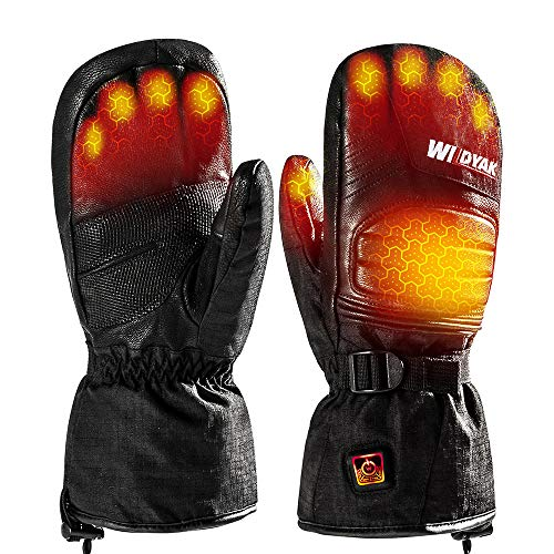 WILDYAK Heated Gloves for Men Women, Electric Heating Gloves for Motorcycle,Ski,Hunting,Snowmobile (Dark, L)