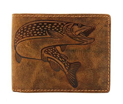 echt Leder Geldbörse quer Hunterleder Portemonnaie Anglerbörse mit RFID Schutz Fisch Hecht