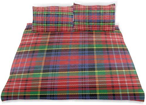 Juego de funda nórdica Caledonia Patrón tradicional escocés Motivo de tartán Cuadrados abstractos Edredón adornado Juego de cama decorativo de 3 piezas con 2 fundas de almohada Cuidado fácil Antialérg