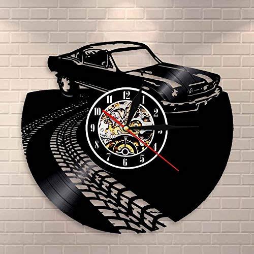 QIANGTOU Coche clásico Retro Vintage con Marca de Carretera, Reloj de Pared artístico, automóvil Deportivo, Coche de Carreras, Disco de Vinilo, Reloj de Pared, Regalo para Amantes
