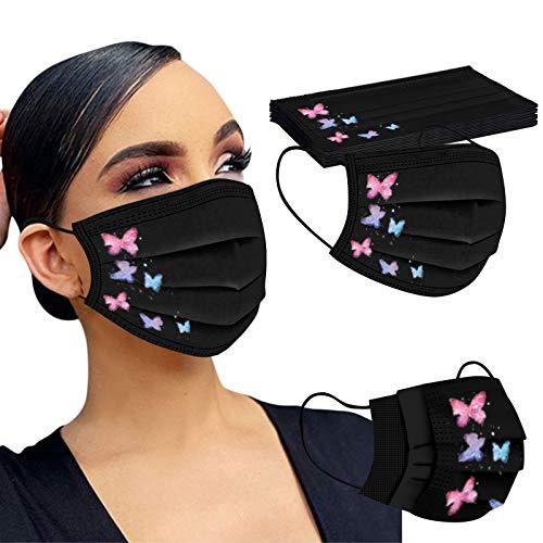 LAOLUO 20 Stück Neu Erwachsene Einweg 3-lagig Mundschutz Masken, Blumen Mit Motiv Mund und Nasenschutz, Atmungsaktive Bandana Bunt Modegeschmack Halstuch für Männer Frauen