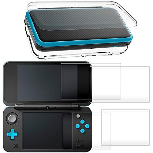 AFUNTA Étui de Protection pour New Nintendo 2DS XL avec Protecteur D'écran, Housse Transparente avec 4 Pièce de Films en Verre Trempé pour Écran Supérieur et Inférieur pour 2DS LL