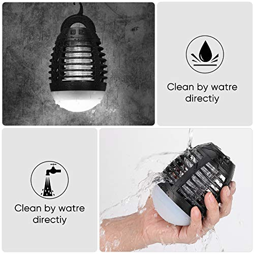 Haofy Bug Zapper Light Bulb, 2-in-1 Mosquito Killer Camping Lantern Tent Light, IP67 Waterproof USB Rechargeable UV Lamp Fly Zapper Insect Trap for Indoor Home Garden Outdoor Fishing