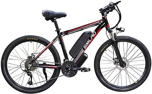 Electric Bikes, 26-inch Adult Electric Bike, 27-Speed-Dating Removable Battery Mountain Bike 48V10AH350W, with LCD Meter and Headlight Commuter Men's Electric Cross-Country Bike (Color : Black Red) ,E
