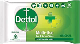 Dettol Disinfectant Skin & Surface Wipes, Original – 10 Count| Safe on Skin| Ideal to Clean Multiple Surfaces| Resealable ...