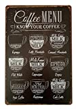Forever_USA Tin Metal Wall Sign | Coffee Bar Menu with Coffee Recipes 8 x 12 | Fun Decorative Poster for Home Bar Room Garage Kitchen Decor | Retro Vintage Design