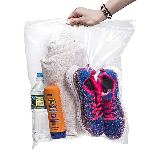 [200 conteggio] grandi sacchetti di plastica grandi grandi con zip & Lock, 45,8 x 45,5 cm [in una borsa] trasparenti da 3,5 galloni (45,8 x 45,7 cm)