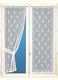 HomeMaison Bonne Femme Paire de Rideaux avec Embrasses, Polyester, Blanc, 220x60 cm