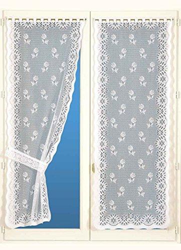 Homemaison buona Donna–Coppia di Tende con fermatenda, Poliestere, Bianco, 220x 60cm