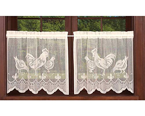 AiFish Beige Lace Sheer Curtain Tier 2 PCS Kitchen Cafe Curtains Rooster Kitchen Curtain Panel Halloween Easter Tulle Door Curtain Rod Pocket Short Drapes Voile Window Treatment Set W30 x L24 Inch