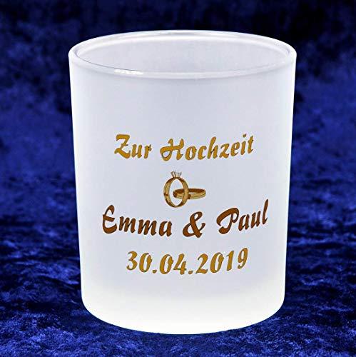 """Neu – Glaskerzenständer inkl. 1Teelicht – bedruckt mit Motiv """"Hochzeit"""" und Ihren Namen mit Datum"""