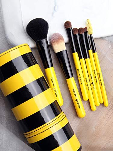 Mignon Pinceau de maquillage Ensemble Brosses, Mélange Visage Poudre Rougir Cache-cernes Yeux Cosmétiques Fondation Professionnel Premium Brosses Kit de-jaune
