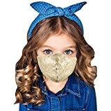 Evild Sequins Glitter Mouth Cover Party Christmas Mouth Mask Adjustable Comfortable Face Cover Show Sparkly Kids Facial Decoration for Children (1pc Gold)